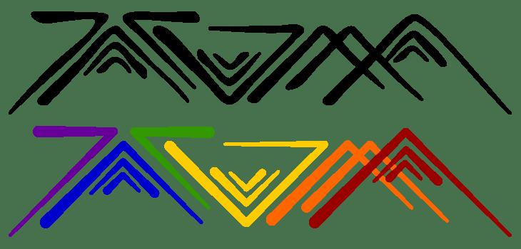 Angular Tacoma artwork in traditional Salish or modern rainbow