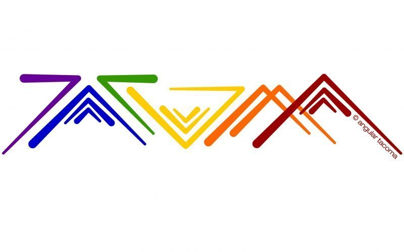 Modern Rainbow Pride version of Angular Tacoma wordart