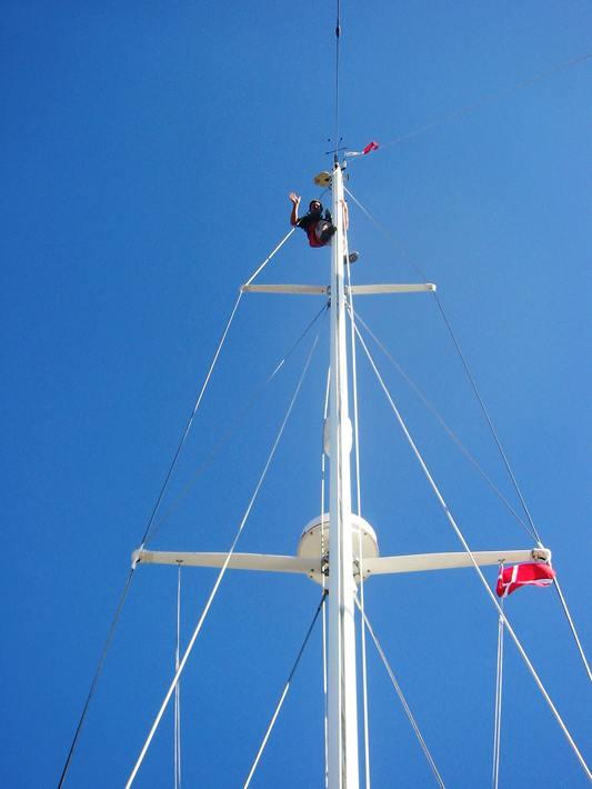 A good view for Simon – hauled up the mast by his scrotum