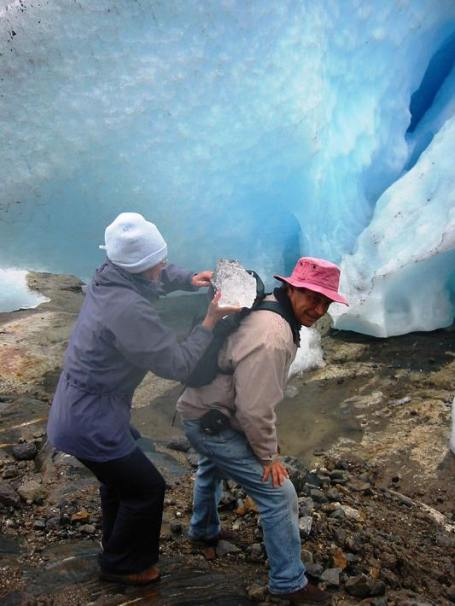 Loading up the 1000 year old glacier ice ...