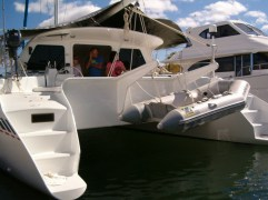 Davits allow for safe and convenient dinghy storage for 8' Zodiac