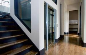 Inline gear drive residential elevator