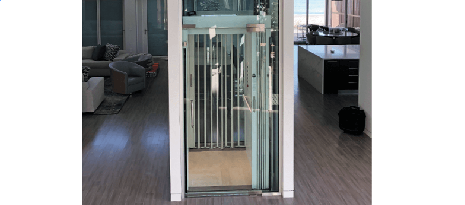 Accordion Gate with Clear Acrylic in Home Elevator