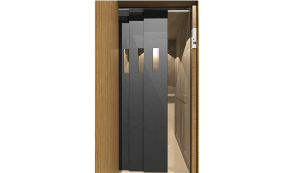 Symmetry Safety Door in standard Black with optional vision panels