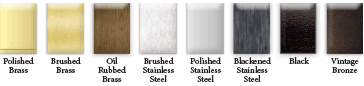 Available finishes for metal handrails. Custom colors available upon request.