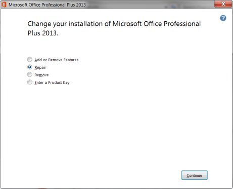 Change your installation of Microsoft Office Professional Plus 2013.