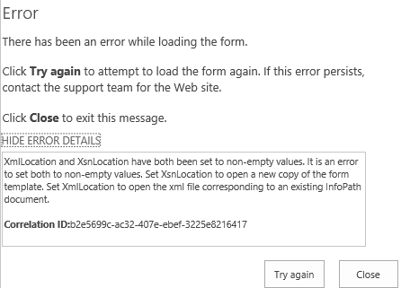 Error Loading InfoPath Form