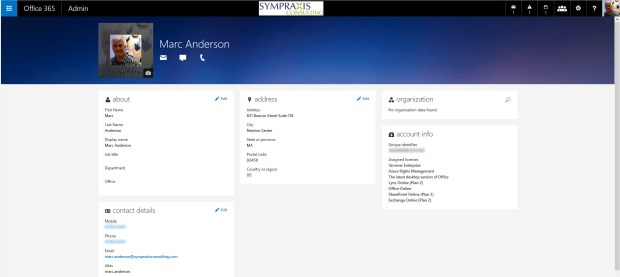 The new Office 365 Profile in Office 365