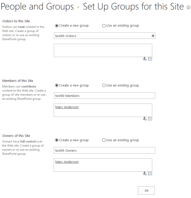 Set Up Groups for this Site
