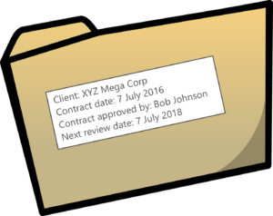Manila folder with metadata