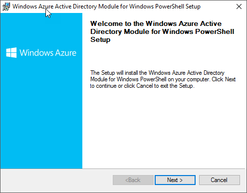 Windows Azure Active Directory Module for Windows PowerShell (64-bit version)