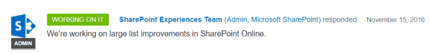 Prioritize large list management in SharePoint Online - Working on it