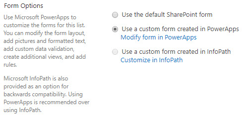 SharePoint List Forms with PowerApps Now Available in First Release
