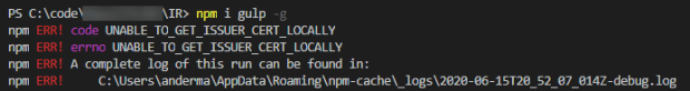 Solving the `npm ERR! code UNABLE_TO_GET_ISSUER_CERT_LOCALLY` Issue