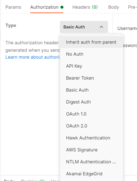 Auth Types in postman