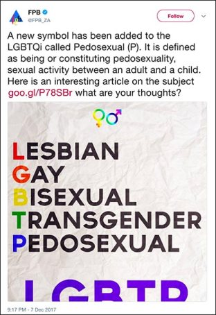 """the deleted FPB tweet referring to """"pedosexual"""" alongside LGBTQi"""