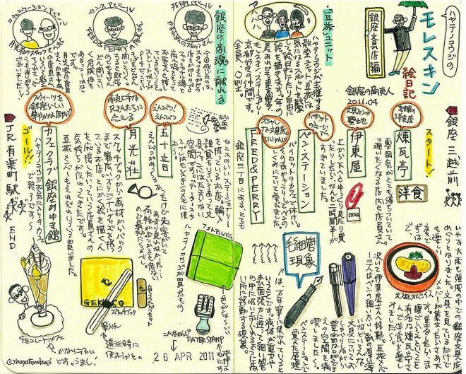 (ブログ記事復刻版)モレスキン絵日記:銀座文具店編(まめさんぽ)2011年4月
