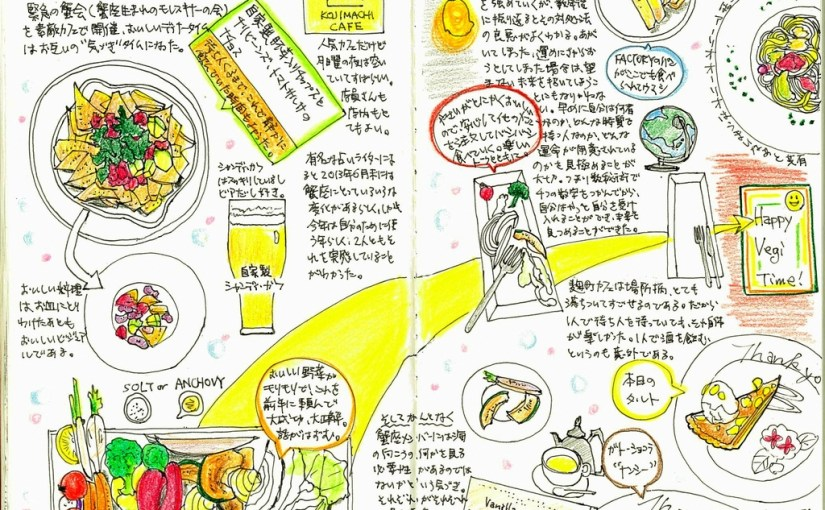 モレスキン絵日記 プチ蟹会(蟹座モレスキナーの会) おいしい野菜ディナー満喫