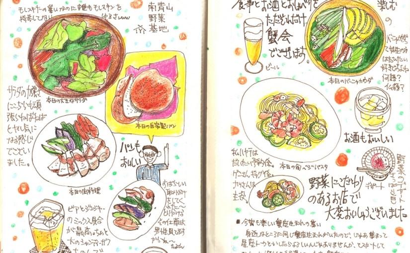 モレスキン絵日記:蟹会(蟹座生まれモレスキナーの会):南青山の野菜レストランにて
