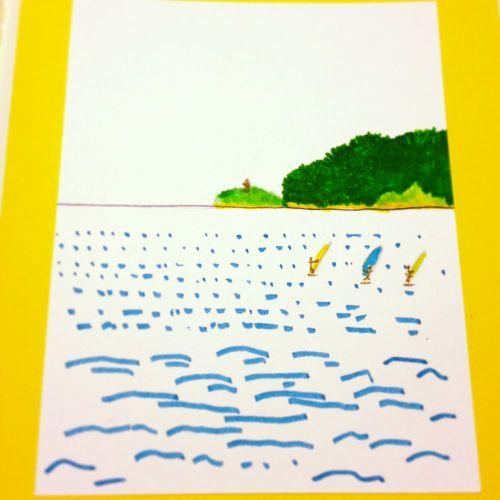 昔描いたイラストをモレスキンに貼付ける。夏が終わる海。