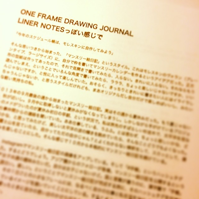 ONE FRAME DRAWING JOURNAL解説文
