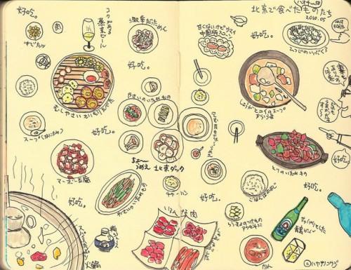 一番最初に描いた旅のフードイラスト(北京滞在編、モレスキンスケッチブック)