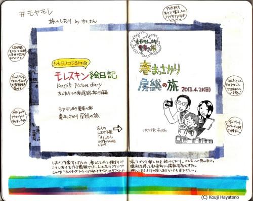 モレスキン絵日記(モヤモレ的電車の旅)春まっさかり房総の旅その2-すぅさんのしおり編