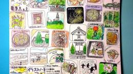 モレスキンに描いたマンスリー絵日記。7月8月をまとめてヒトコマに入れたバージョン。夏ですので、緑と青が多めになっていますね。おいしいもの食べたり自然に触れたり楽しい時期でございました。