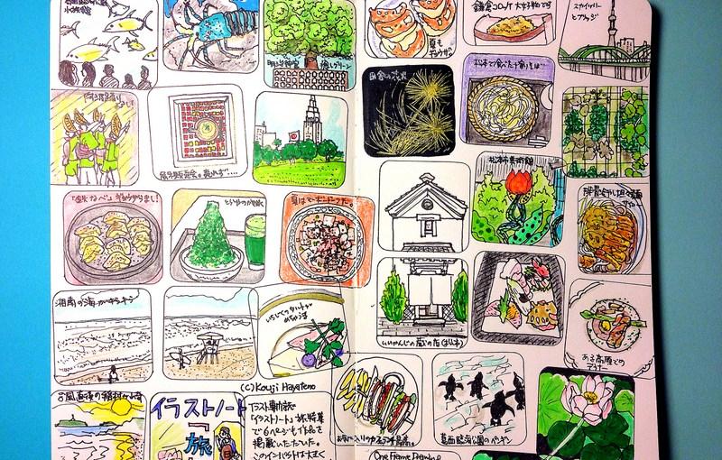 モレスキンに描いたマンスリー絵日記、7月8月は夏らしいことをいろいろと。
