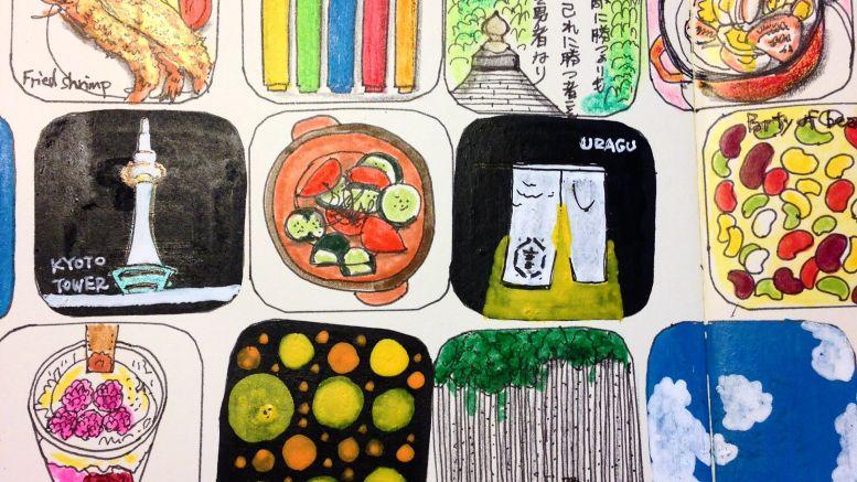 11/18から文房具カフェで展示されているモレスキンアート(ハヤテノコウジ作品)。