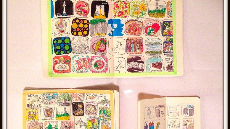 2014年のマンスリー絵日記。数ヶ月分の記憶をフレームに再設定する。
