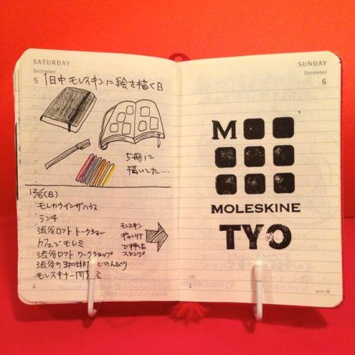 2015年12月5日と12月6日のモレスキン絵日記。