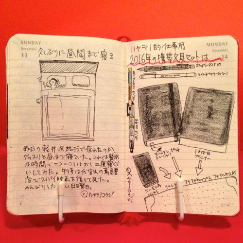2015年12月13日と12月14日のモレスキン絵日記。