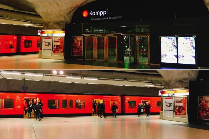 Kamppi駅の地下鉄ホーム