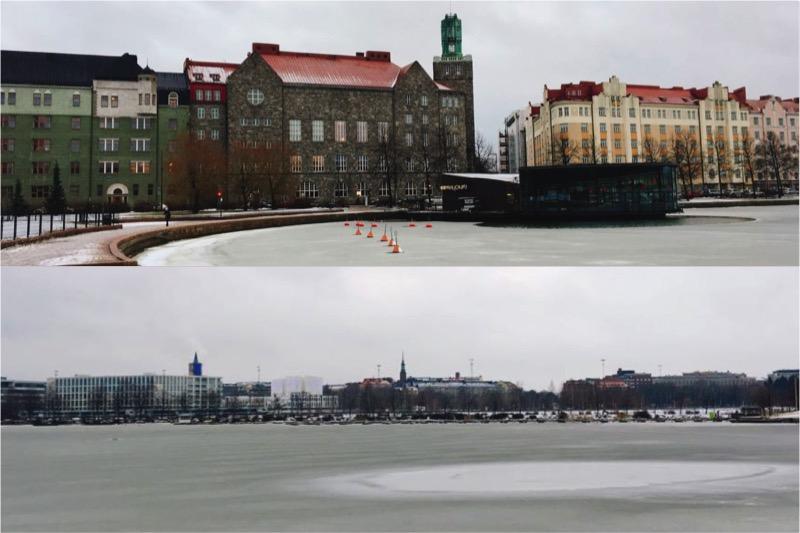 冬のヘルシンキ、凍る湖