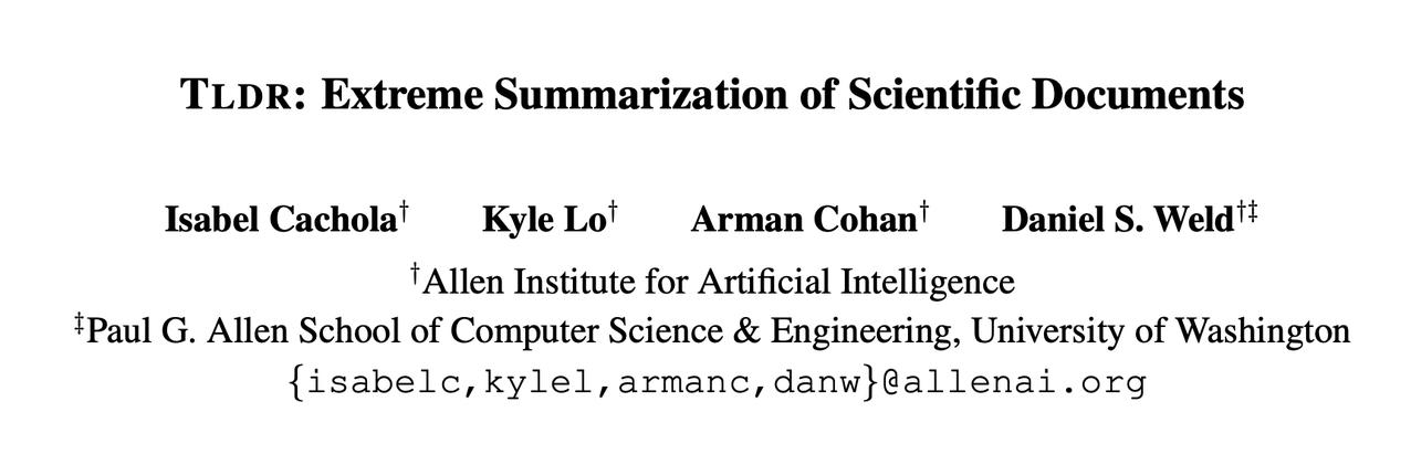 AI2 & UW Researchers Propose 'TL;DR' Paper Summarization Task