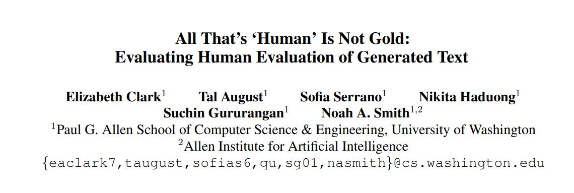 Human Evaluations No Longer the Gold Standard for NLG, Says Washington U & Allen AI Study