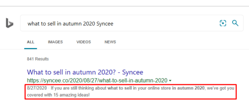 There is an example on how meta descriptions work.