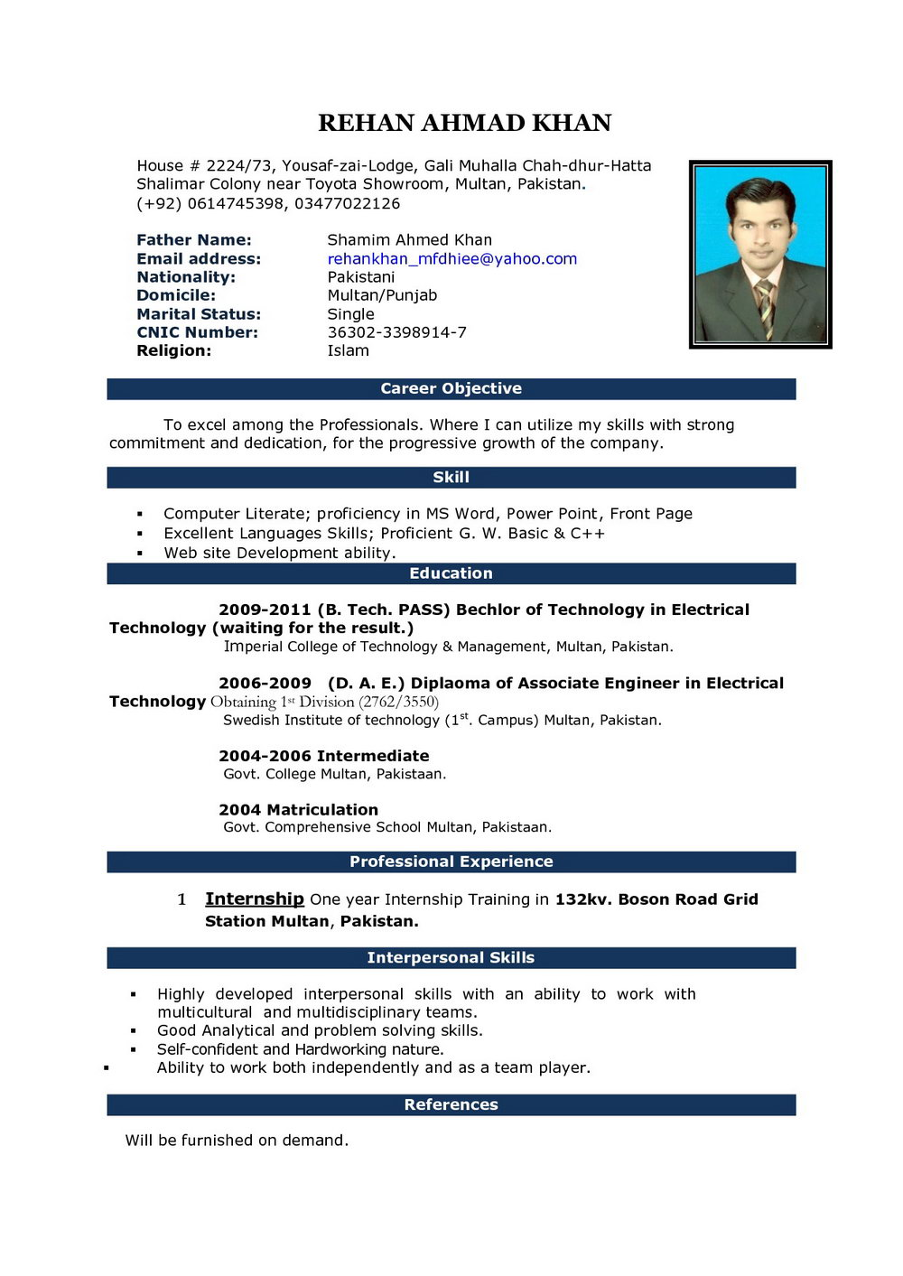 Best Resume Format In Word Free Download