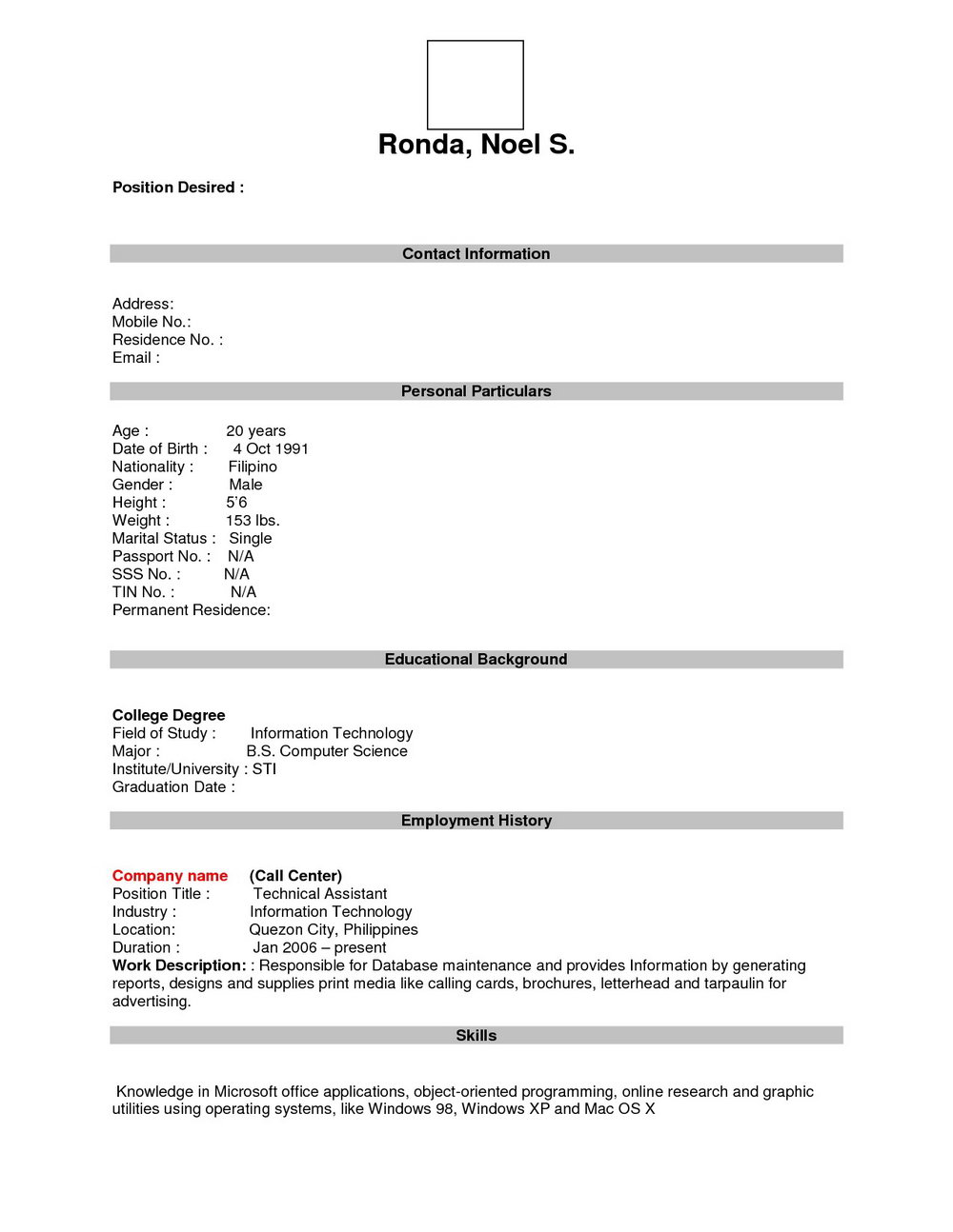 Blank Resume Template Download