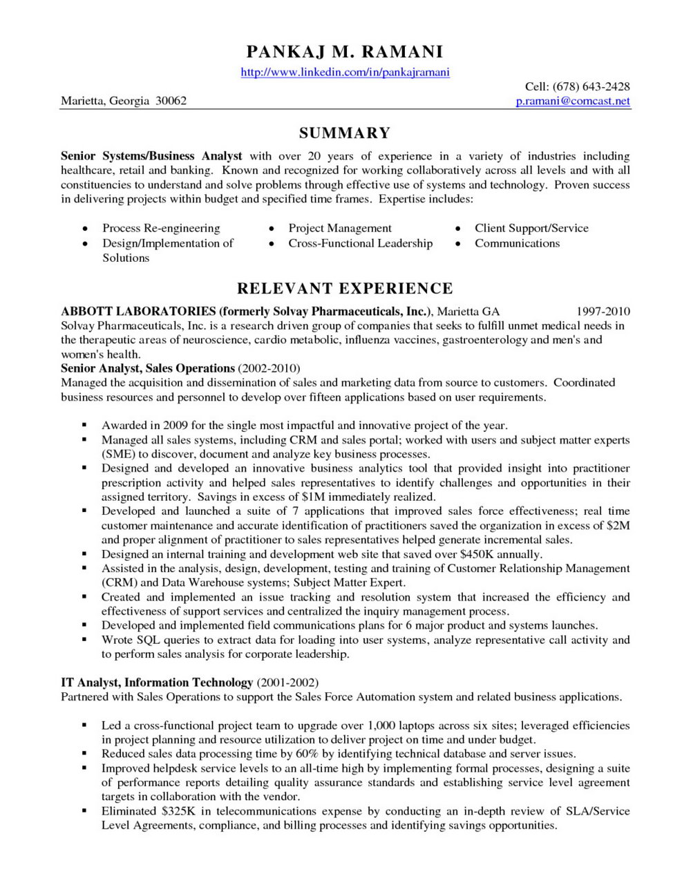 Business Analyst Resume Templates Samples