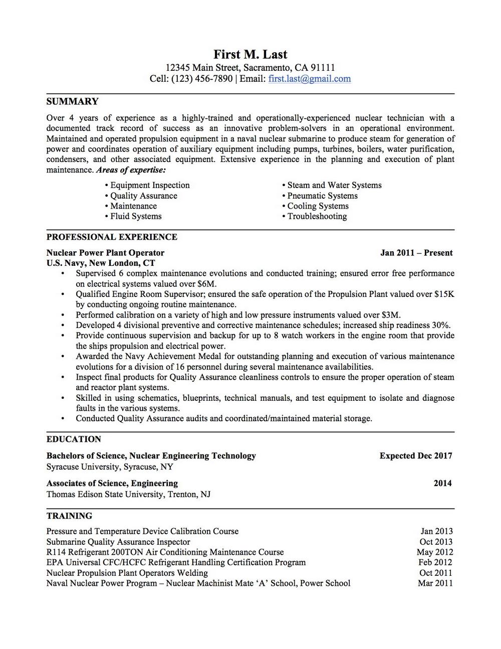 Convert Military Resume To Civilian