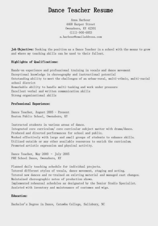 Dance Resume Template Free
