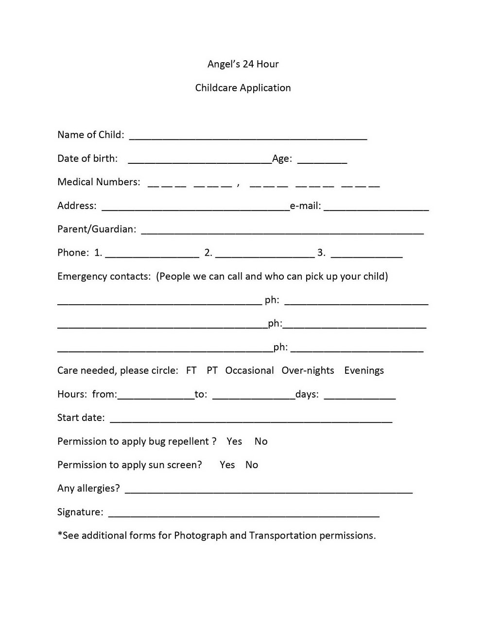 Daycare Job Application Printable