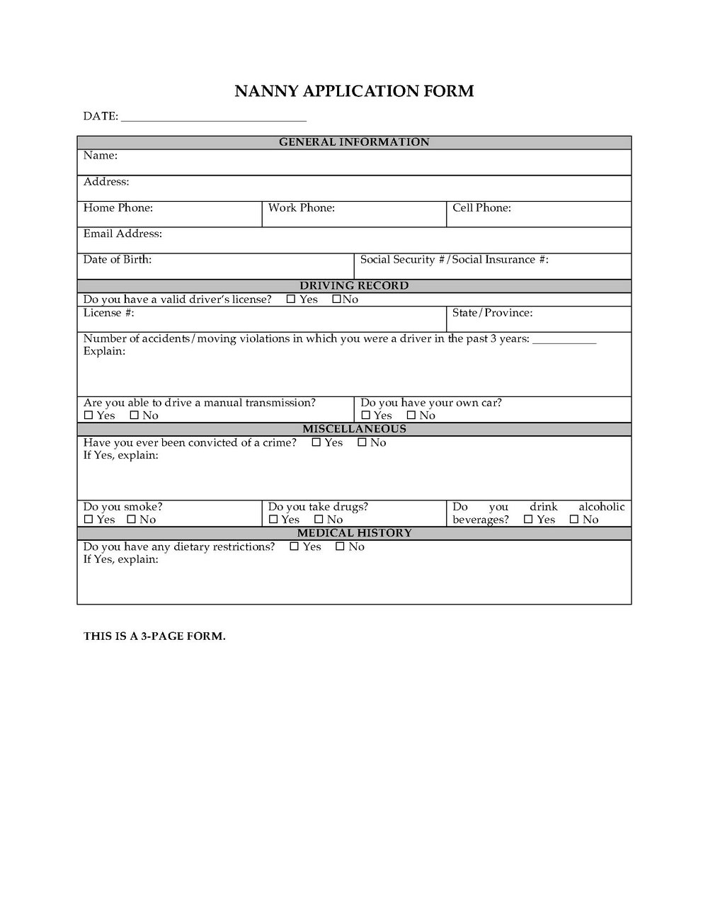 Daycare Job Application Template