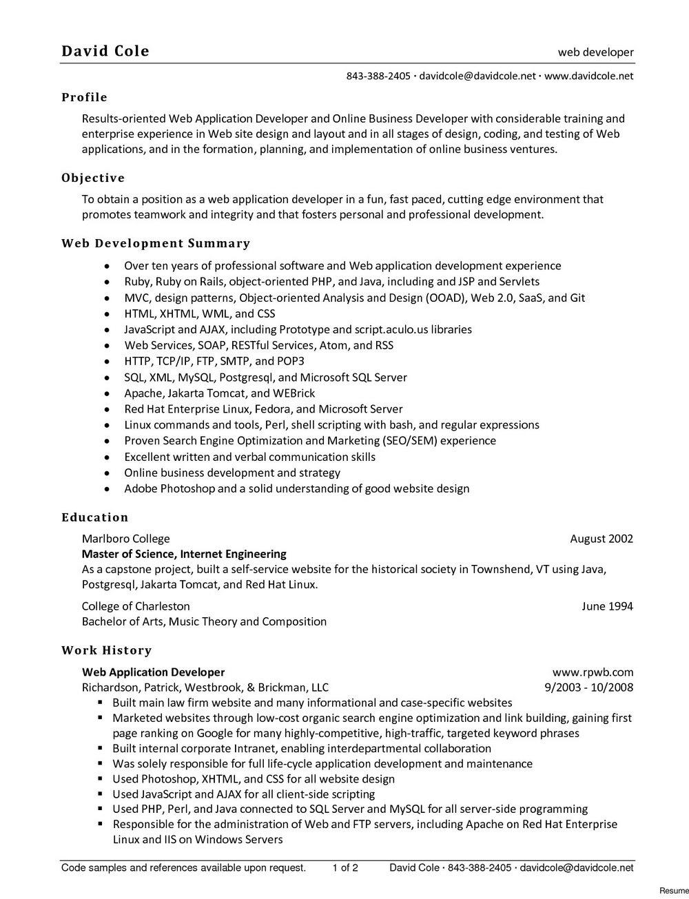 Drupal Developer Resume Sample