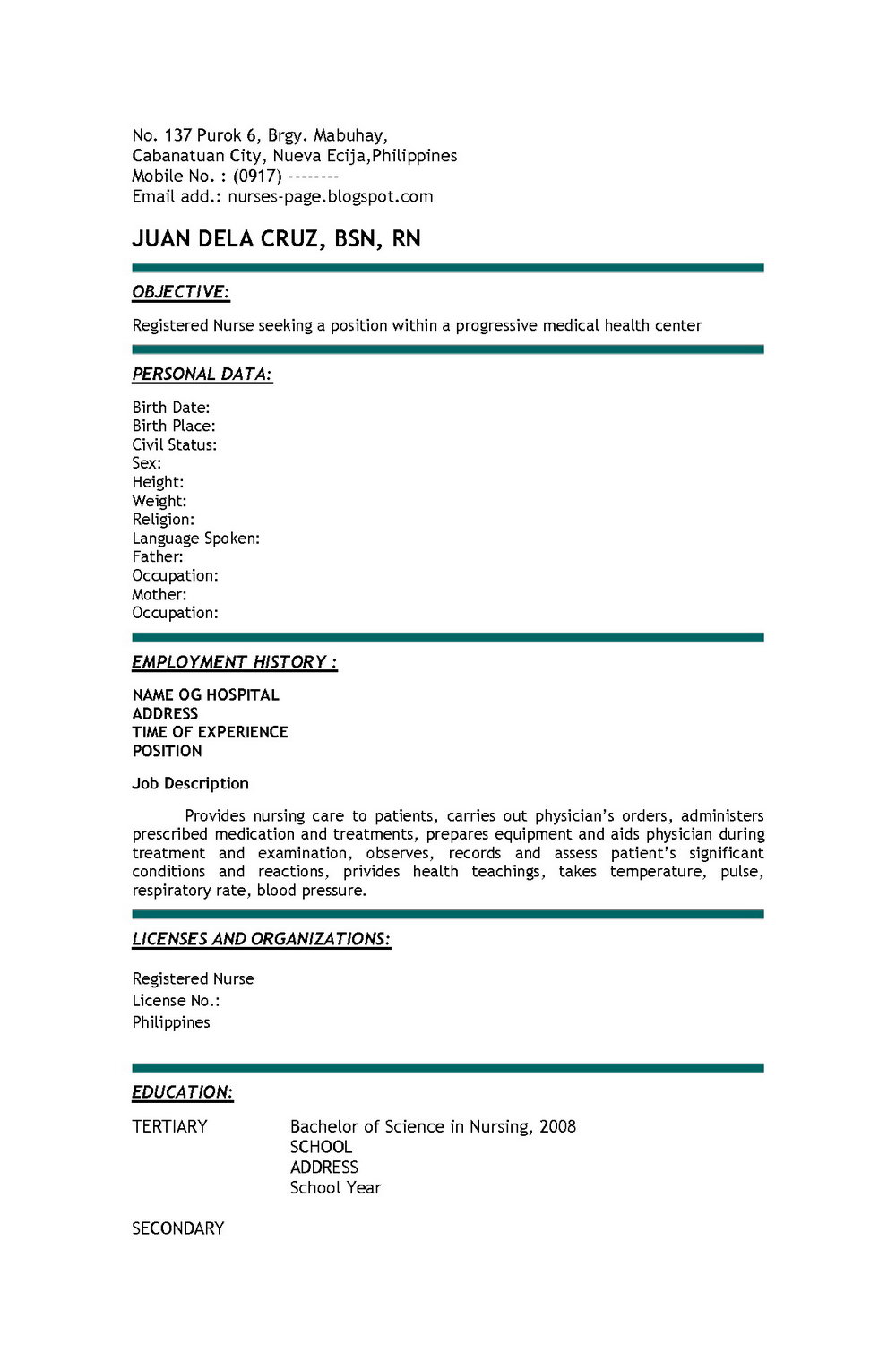 Example Resume For Registered Nurse