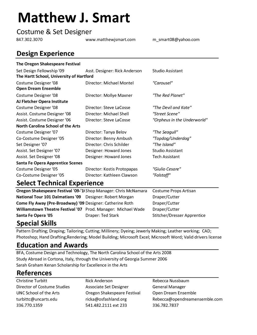 Fashion Designer Resume Templates Free