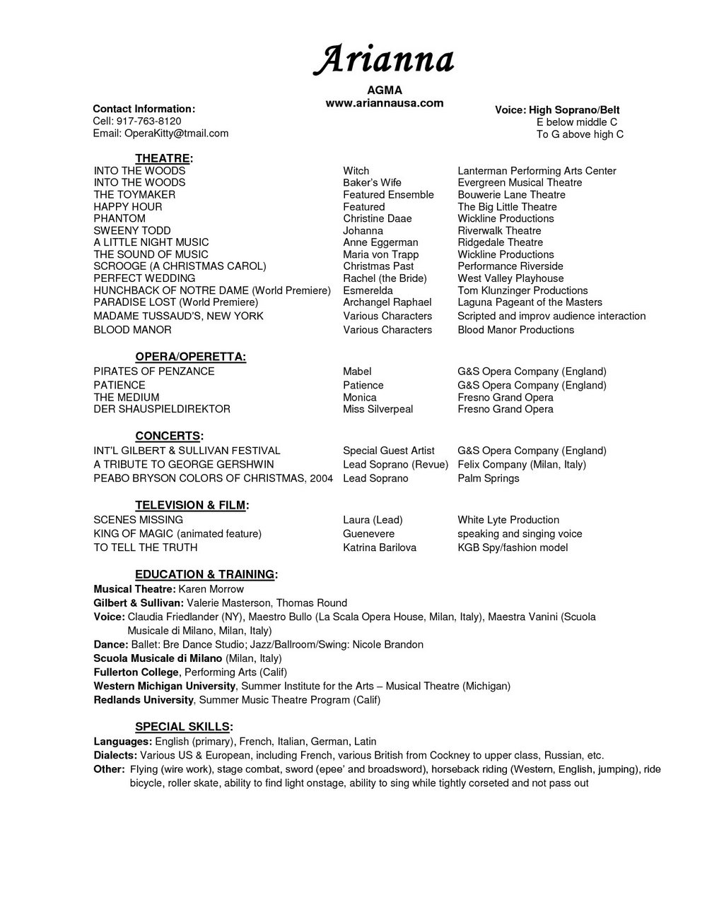 Free Acting Resume Builder