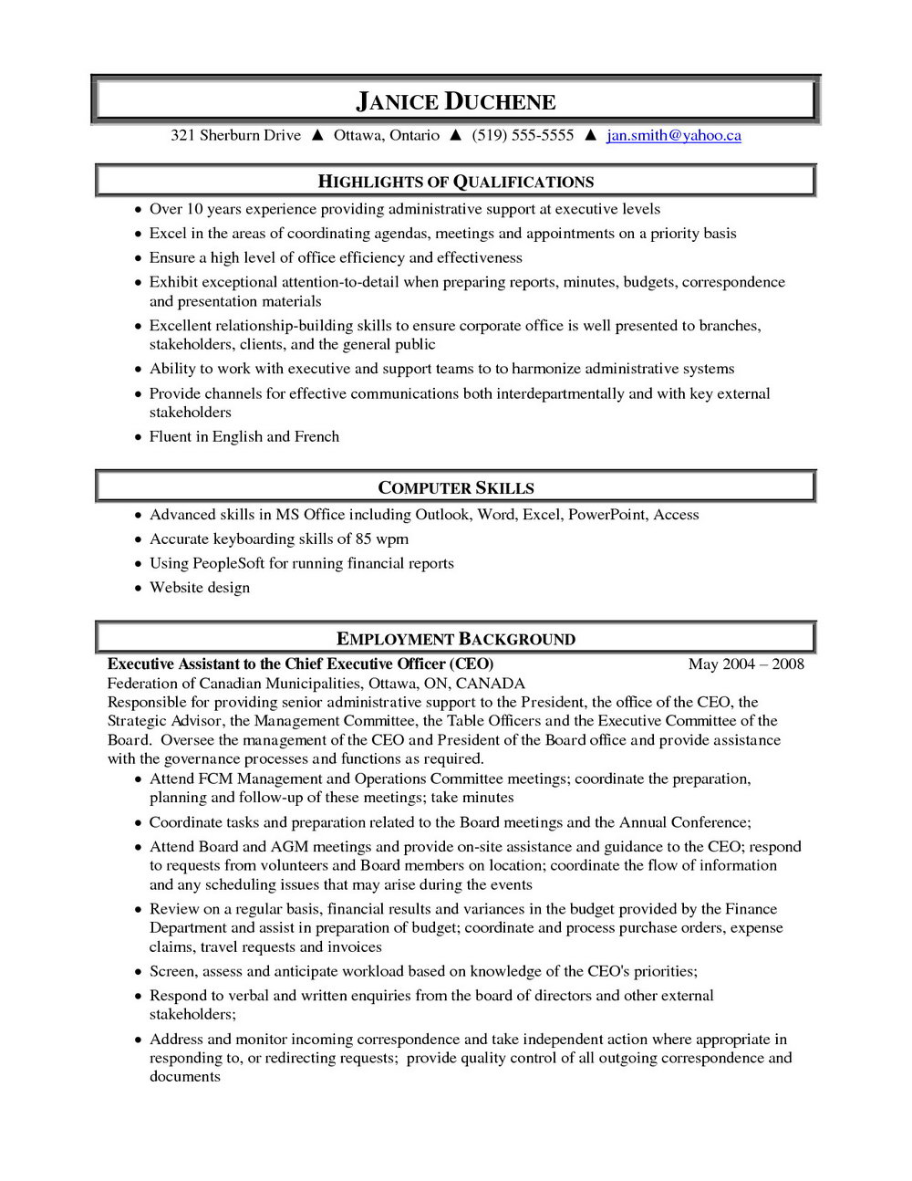 Free Administrative Assistant Resume
